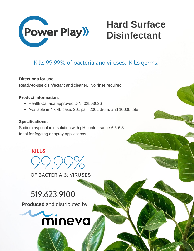 Power Play disinfectant Health Canada Approved